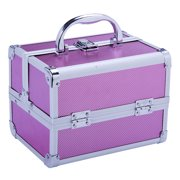 Soozier Mirrored Mini Professional Makeup Case with Pull-Out Trays - Pink