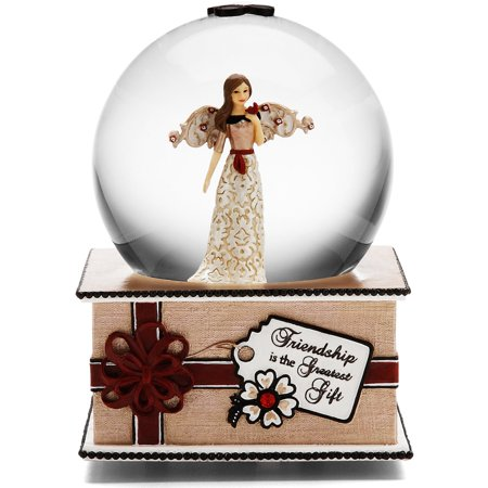"Pavilion - ""Friendship is the Greatest Gift"" Angel Figurine Musical Water Globe Plays ""We Wish You a Merry Christmas"""