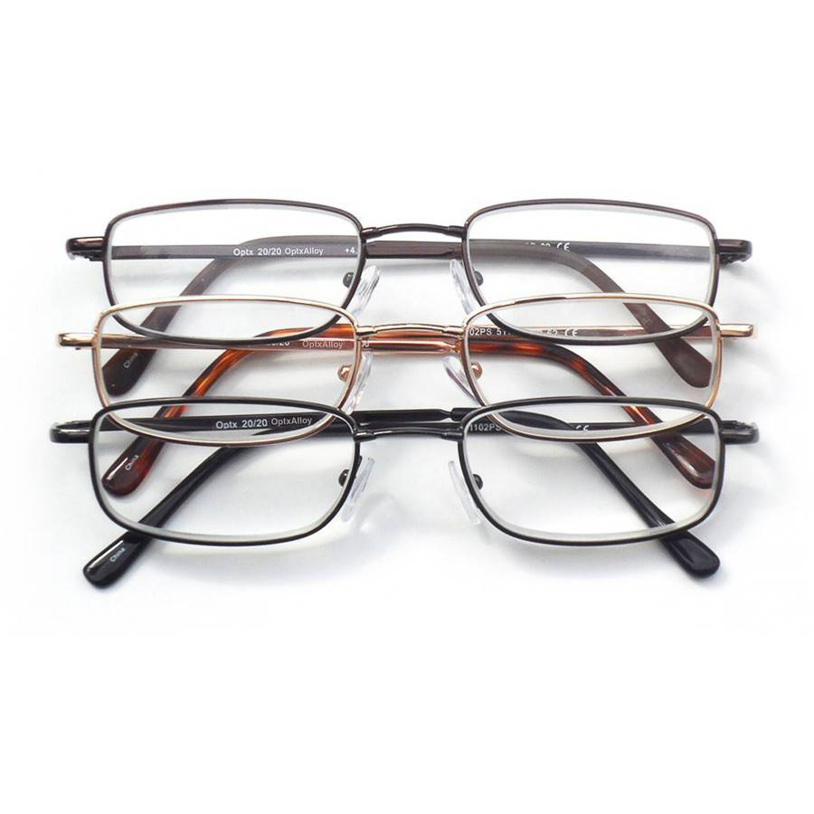 optx 2020 3 pair valupac alloy reading glasses 3 50