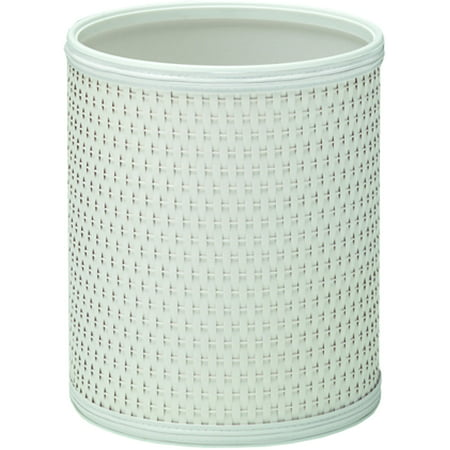 Chelsea Pattern White Wicker Round Wastebasket