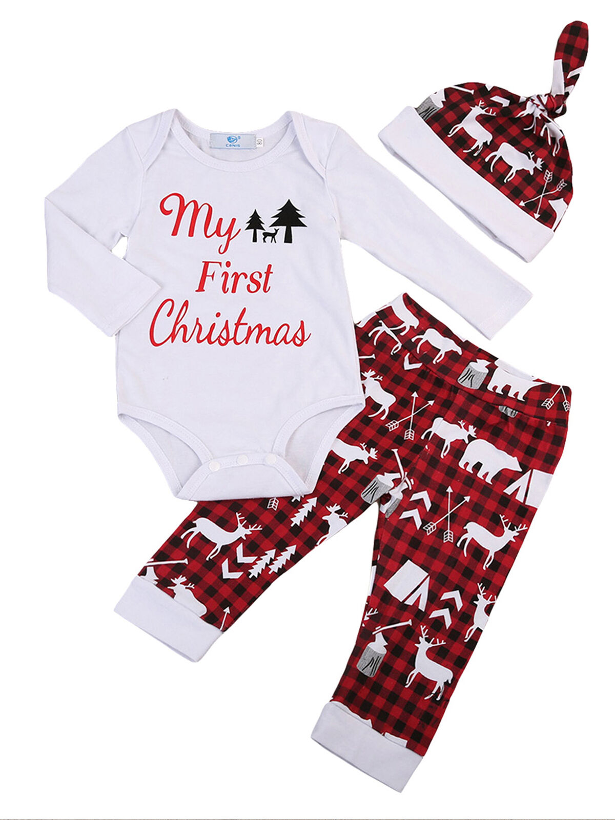 Newborn Girl Boy My First Christmas Outfit Set Bodysuit Pants Hat Infant Baby Christmas Clothes Set