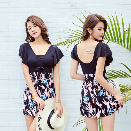 Large Size Printing One-piece Dress Swimwear for Middle-aged Women black