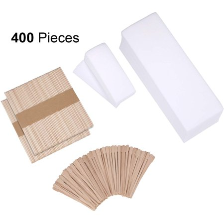 400 Pieces Wax Strips Sticks Kit, Non-Woven Waxing Strips Hair Removal Strip with Wax Applicator Stick for Body Skin Facial Hair Removal Tools - Non Woven Waxing Roll