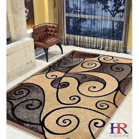 Modern Contemporary Area Rugs-Abstract Wavy Swirls -Shed Free Beige/Chocolate/Mocha/Ivory Mocha Colored Swirl