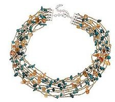 STERLING TURQUOISE & CARNELIAN NUGGET MULTI- STRAND NECKLACE J140724 by Original