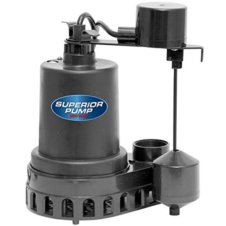 Superior Pump 92572 1/2 HP Thermoplastic Submersible Sump Pump with Vertical Float Switch Sump Pump Diaphragm Switch
