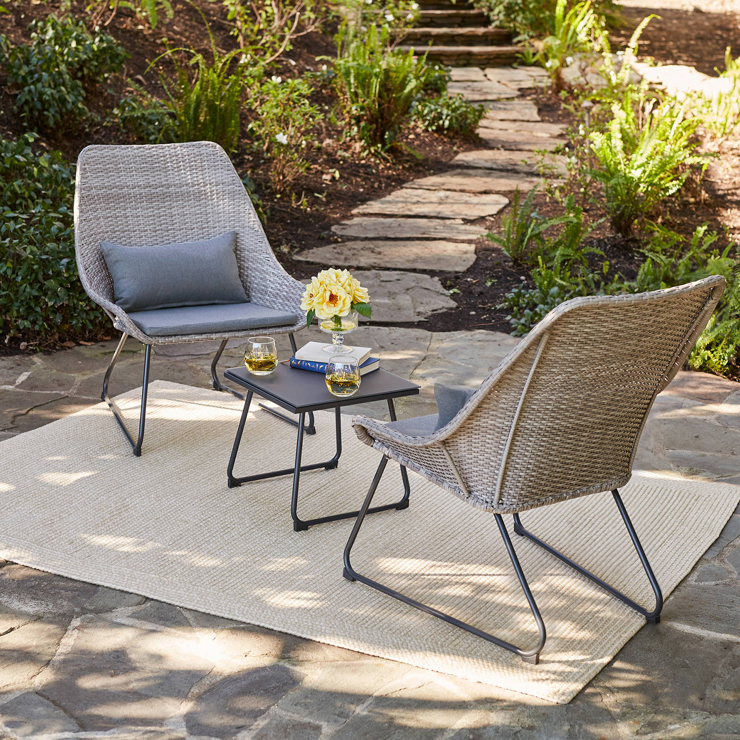 Hanover 3-Piece Outdoor Wicker Chat Set by Hanover
