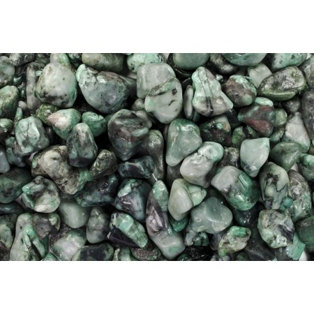 Fantasia Crystal Vault: 3 lb High Grade Emerald Tumbled Stones - Medium - 1