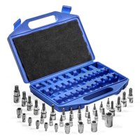 "XtremepowerUS 35-pieces Torx Bit Socket External Torx Star Socket Set S2 Cr-V Steel, 1/4"", 3/8"" and 1/2-inch Drive"