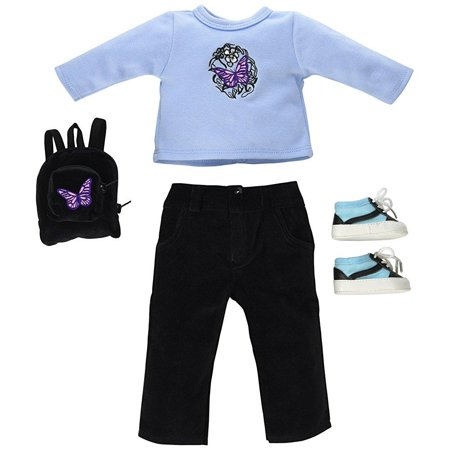 blue butterfly school outfit & accessories - fits 18 american girl dolls