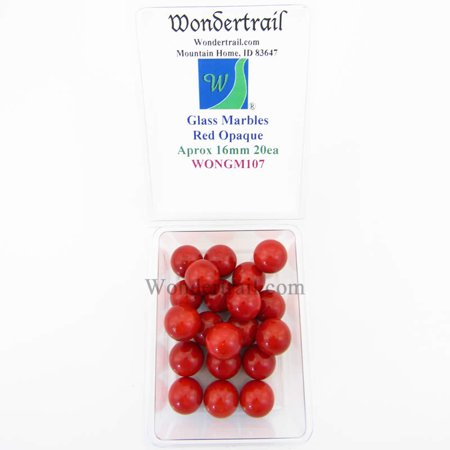 Red Opaque 16mm Glass Marbles Pack of 20 Wondertrail (Red Flat Marbles)