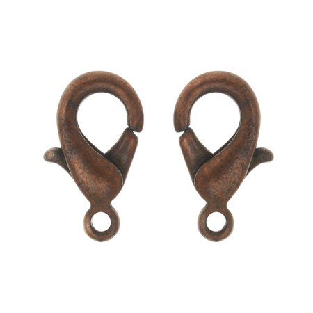 Lobster Clasp, 12.5x7.5mm, 20 Pieces, Antiqued Copper