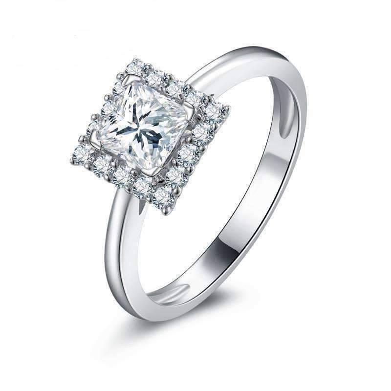 Diamond Rings For Sale Walmart: Bianca .68CT Princess Cut Halo