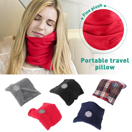 Amerteer Comfortable Travel Neck Pillows, Super Soft Airplane Car Flight Pillow, Comfortably Supports The Head, Neck and Chin Travel Pillow For Traveling on Airplane, Bus, Train or at Home-Red (Best Airplane Neck Pillow)