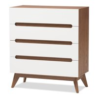 Baxton Studio Calypso White and Walnut Wood 4-Drawer Storage Chest