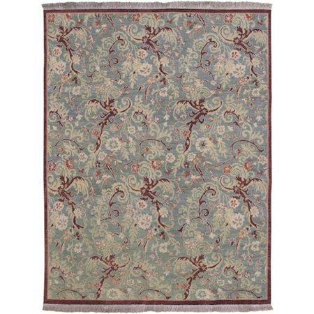 10 39 x 14 39 heirloom botanical fringed slate blue gray wool area throw rug. Black Bedroom Furniture Sets. Home Design Ideas