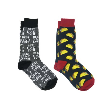 Men's Best Dad Ever Socks Grey and All-Over Tacos Food Print Novelty