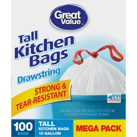 Great Value Tall Drawstring Kitchen Bags, 13 Gallon, White, 100 Ct