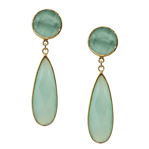 "Yellow Sterling Silver Aqua Chalcedony ""Organic Stone"" Pear shape Earrings by"