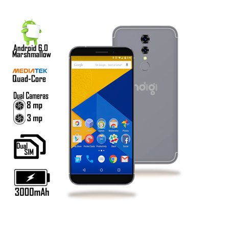 Gsm Unlocked 4G Lte 5 6In Dualsim Android Smartphone By Indigi   Quadcore 1 3Ghz   1Gb Ram   Fingerprint Access  Blk