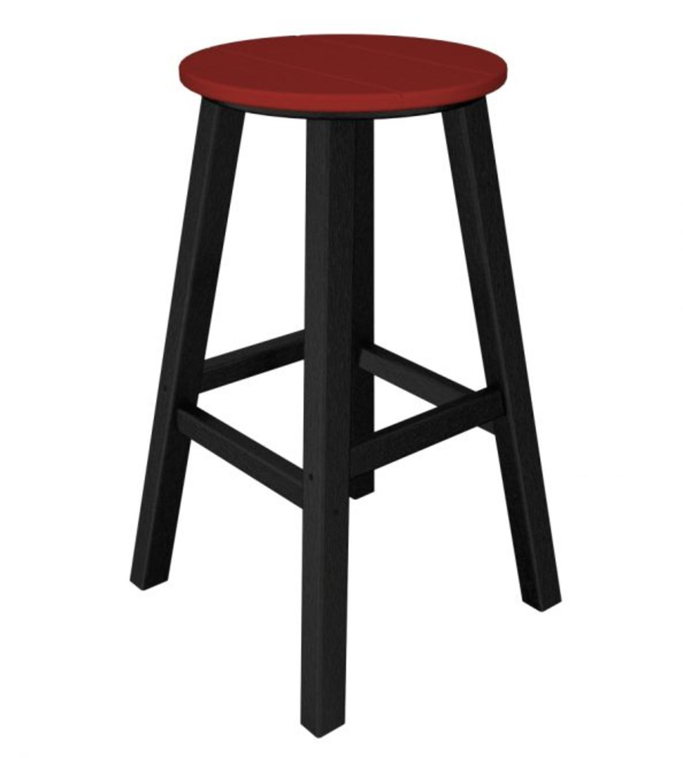 Pack of 2 Recycled Au Courant Outdoor Bar Height Stools -Black & Candy Apple Red