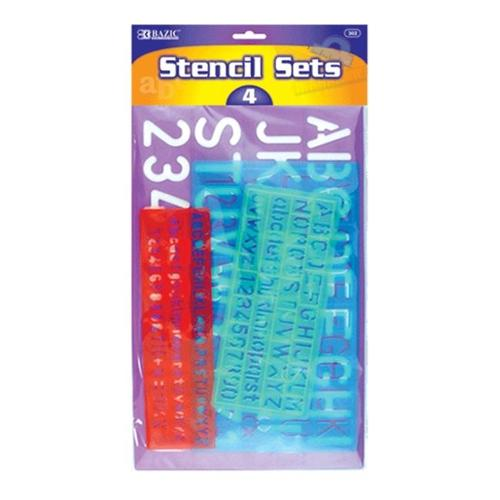 BAZIC 8, 10, 20, 30mm Size Lettering Stencil Sets 24 Packs of 4