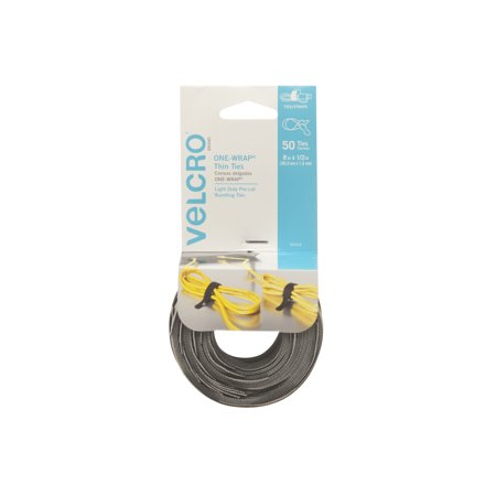 VELCRO® Brand ONE-WRAP® Thin Ties 8in x 1/2in Ties Gray & Black 50 ct