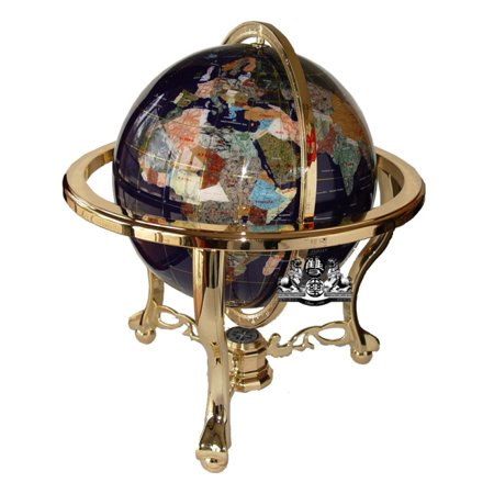 Unique Art 21-Inch Tall Blue Ocean Table Top Gemstone World Globe with Gold Tripod