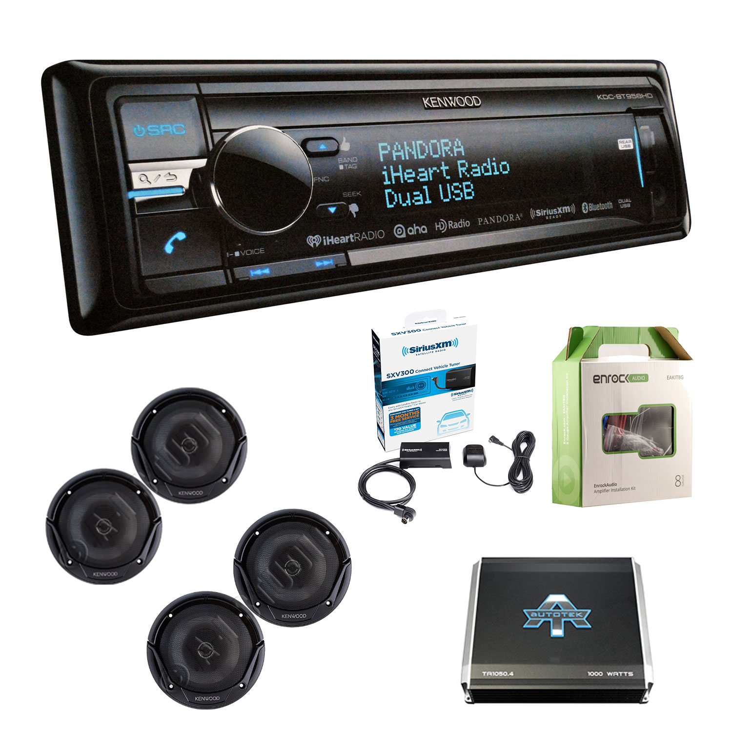 Kenwood KDCBT958HD CD Player BT HD Radio USB w/ Kenwood KFC1665S 2-Way Car Speakers (2-Pairs), Autotek TA10504 1000W 4 Chan Amplifier, Enrock EAKIT8G 18G 50' Speaker wire & Sirius SXV300-V1 RadioTuner