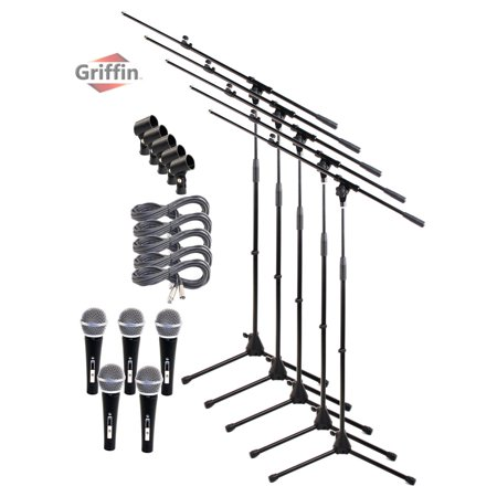 Telescoping Microphone Stand Package with Vocal Unidirectional Mics and XLR Cables (5 Pack) by Griffin | Handheld Cardioid Dynamic Microphones for Studio Recording and Stage Singing|20FT XLR Mic Cords