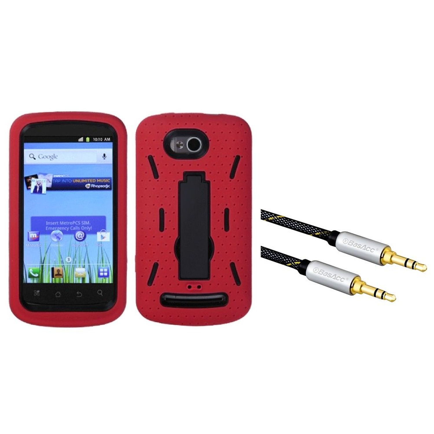 Insten Black/Red Symbiosis Stand Case for COOLPAD: 5860E (Quattro 4G) (+ 3.5mm Auxiliary Cable)