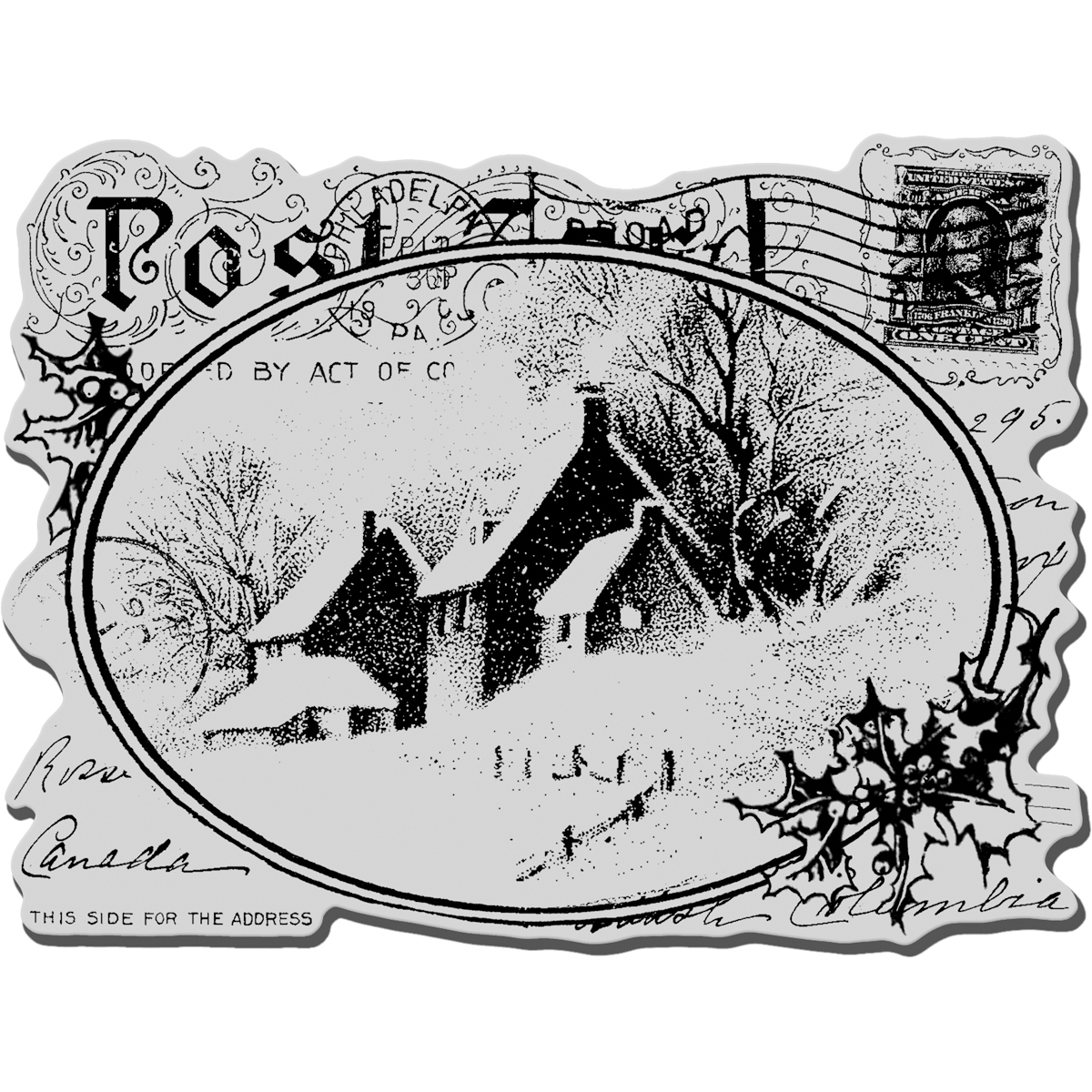 """Stampendous Cling Stamp 4""""X6""""-Snowy Postcard - image 1 of 1"""