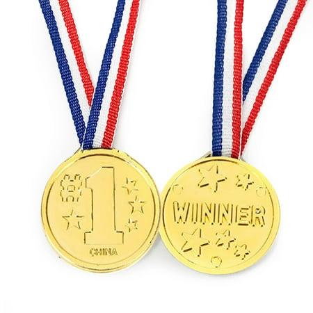 50 Piece Goldtone Plastic Award Winner Medal - BULK (Bulk Medals)
