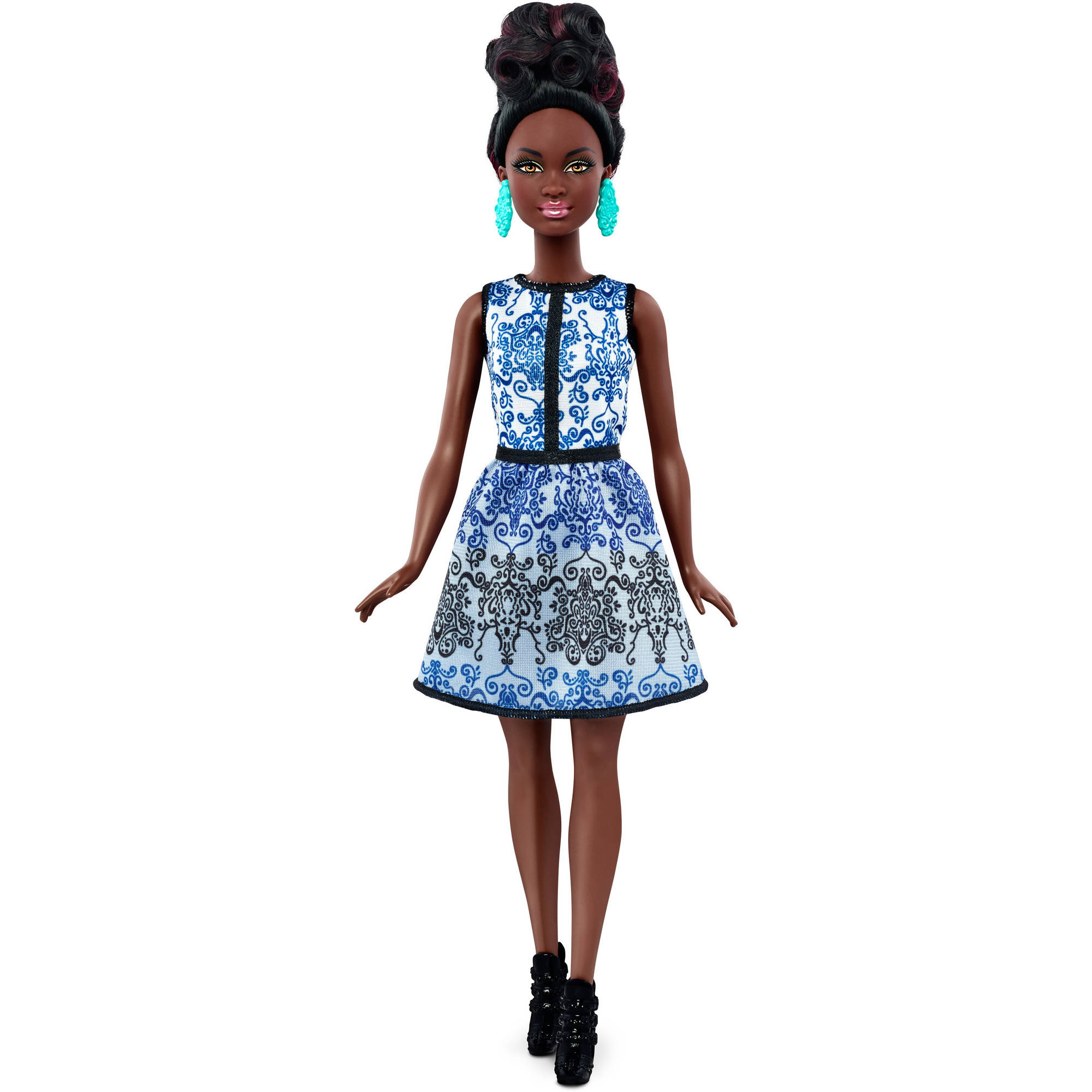 Barbie Fashionistas Doll Blue Brocade, Petite Body, African American by MATTEL INC.