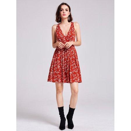 Alisa Pan Women's Sexy Short V-Neck Sleeveless Summer Holiday Sun Dress Floral Print Casual Dresses for Women 05756