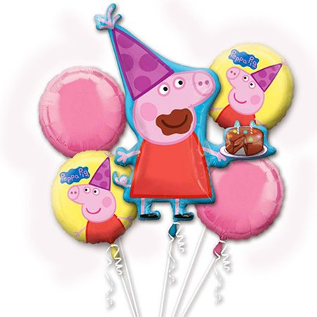 Peppa Pig Character Authentic Licensed Theme Foil Balloon Bouquet (Peppa Birthday)