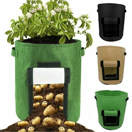 Gallons Grow Bags Potato Planter Bag Flap Handles, Planting Grow Bags Fabric Pots for Grow Vegetables, Potato, Carrot, Onion