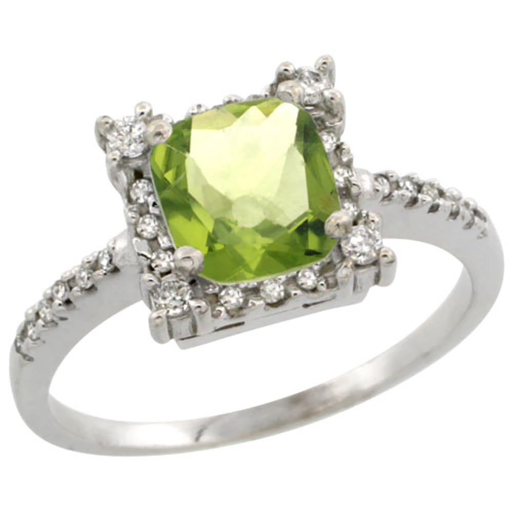 10k White Gold Natural Peridot Ring Cushion-cut 6x6mm Diamond Halo, sizes 5-10 by WorldJewels