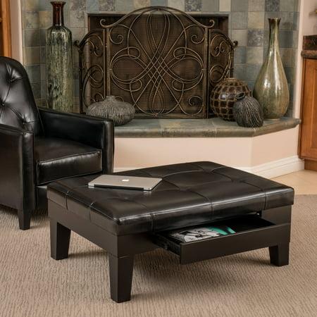 Fabulous Noble House Lauren Black Bonded Leather Ottoman Ncnpc Chair Design For Home Ncnpcorg