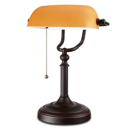 ESCENA Antique Style Banker's Lamp, Matte Amber Glass Desk Lamp, Pull Chain Switch Attached, Oil Rubbed Bronze
