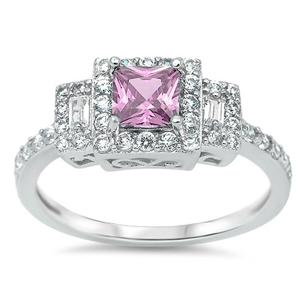 Women's Square Wedding Pink CZ Halo Ring ( Sizes 4 5 6 7 8 9 10 11 12 ) New 925 Sterling Silver Band Rings by Sac Silver (Size 8)