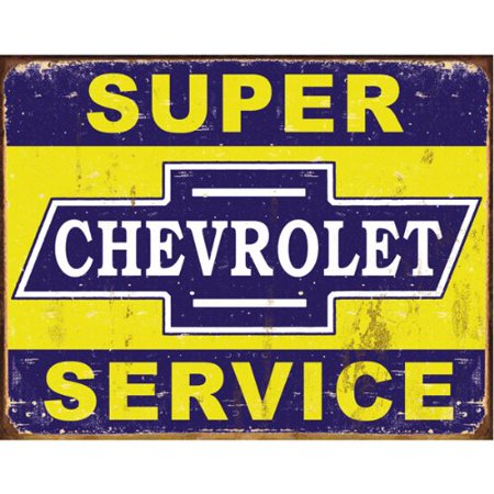 Desperate Enterprises Super Chevy Service Collectible Metal Sign, Model# 1355, 17x13 Multi-Colored