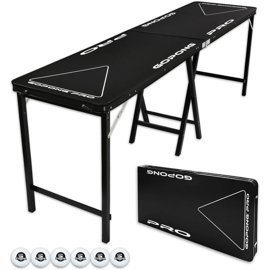 "GoPong PRO 8' Portable Folding Beer Pong Table, Indoor Outdoor Party Drinking Games, 6 Balls Included, Taller 36"" Table Height"
