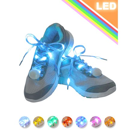 IClover Nylon Running Safety LED Shoelaces Luminous Flashing Rave Party Strap Shoe Laces for Halloween Party Dancing Running Cycling Hiking with 4 Flashing Modes](Led Running)