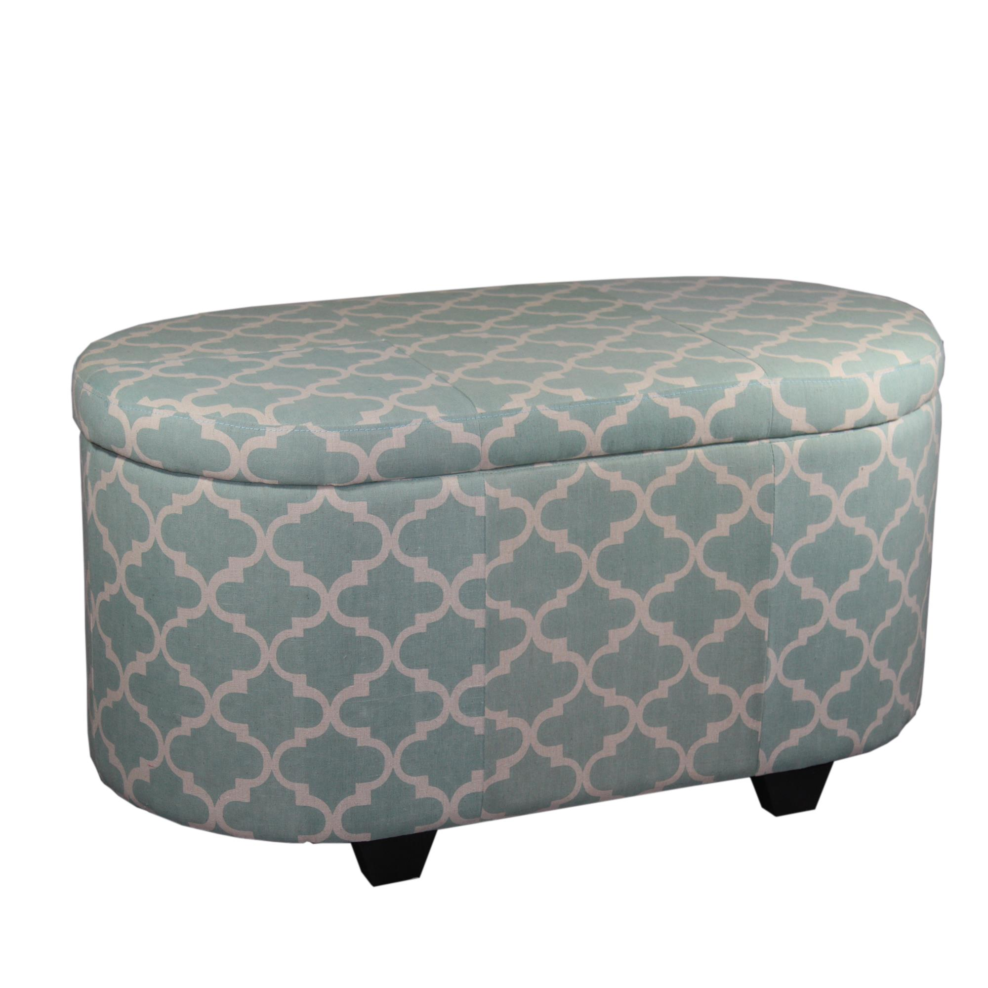 "18.7""H Moroccan Clover Teal Storage Ottoman Plus Extra Seating"