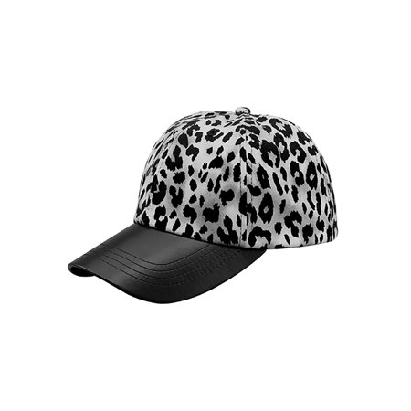 Top Headwear Leopard Print Cap w/ Textured Leather (Silver Disc Top Cap)