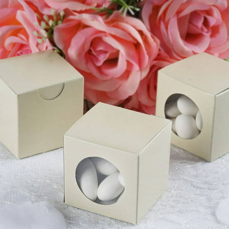 Bridal Shower Paper (Efavormart 2x2  Ballotin Box for Candy Treat Gift Wrap Box Party Favor Boxes for Bridal Shower Anniverary Wedding Party -100)
