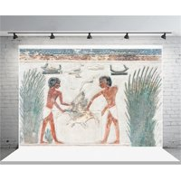 GreenDecor Polyster 7x5ft Ancient Egyptian Mural Backdrop Old Hunting Fresco Photography Background Wall Painting History Culture Civilization Photo Shoot Studio Props Video Drop Drape