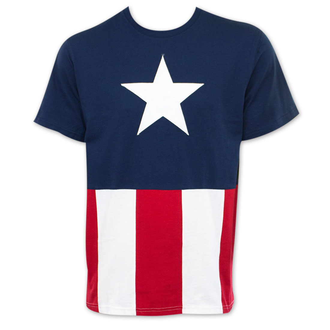 Captain America Men's Stitched Flag Tee Shirt