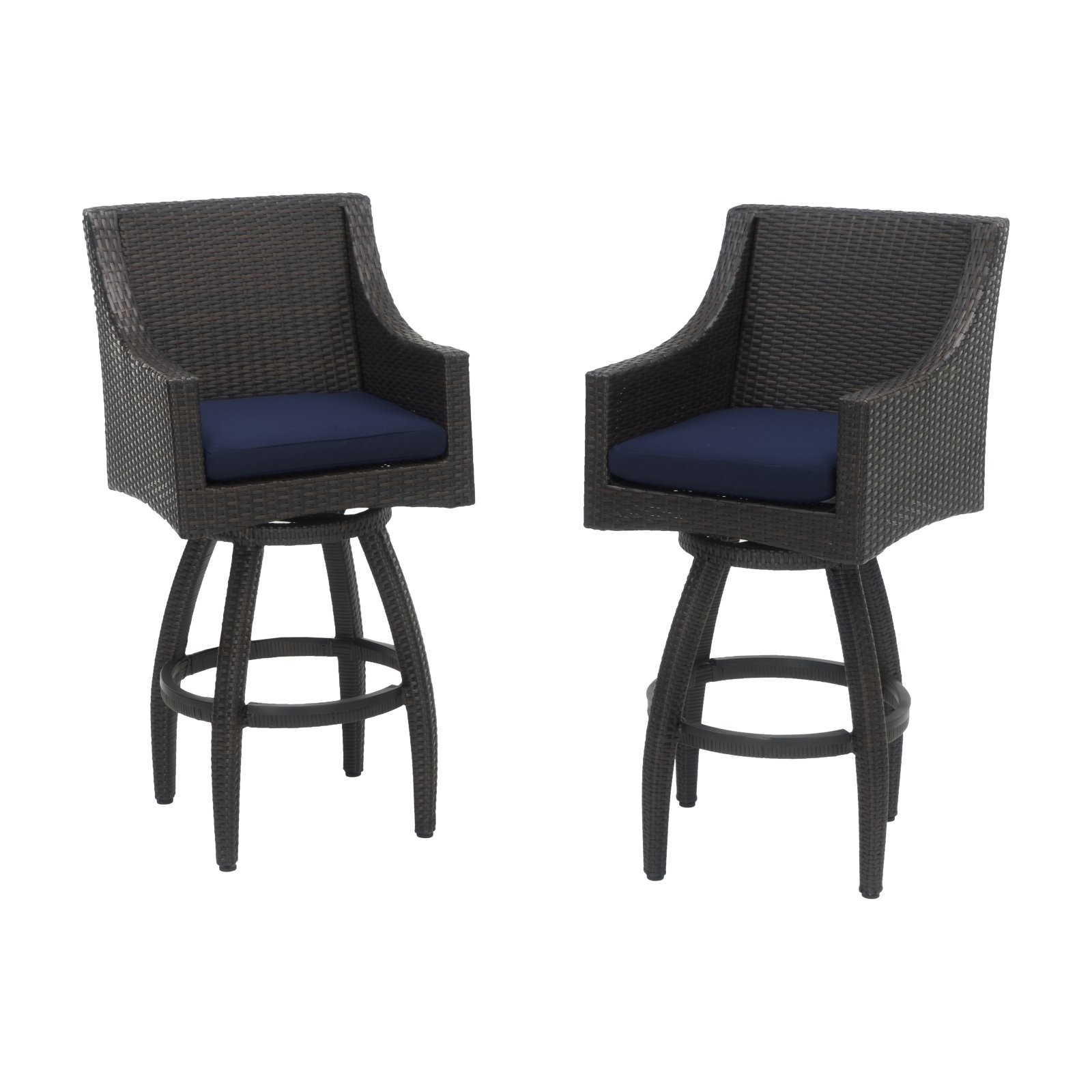 Deco Set of 2 Swivel Barstools in Sunbrella Navy Blue by RST Brands